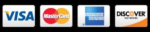 Visa, American Express, Mastercard and Discover logos